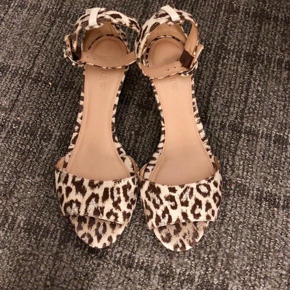 Jcrew Leopard Print Laila Sandals